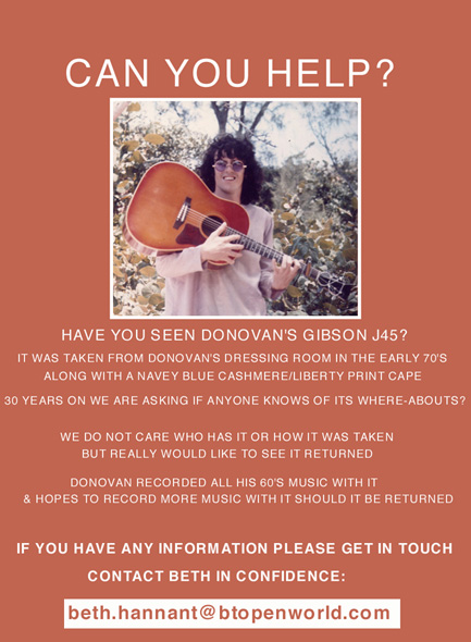 Donovan's lost Gibson J45 - Have you seen this guitar?